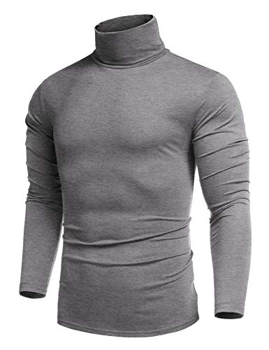 COOFANDY Herren Rolli Langarm T-Shirts Herren Langarm Rollkragen Pullover Langarmshirt Hoodie Regular fit Grau XXL