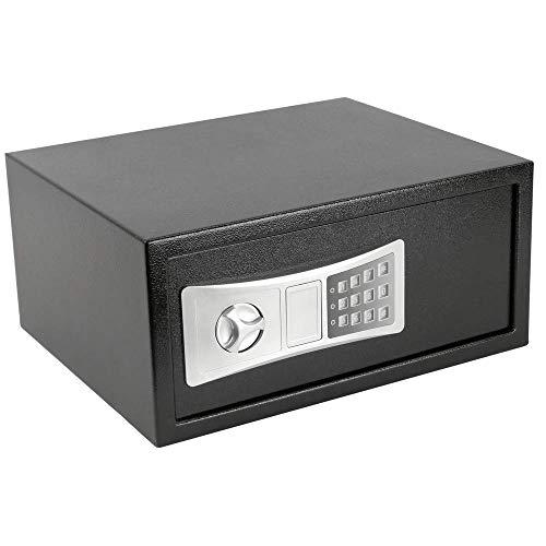 PrimeMatik - Stalen kluis met digitale elektronische code 43x35x20cm zwart