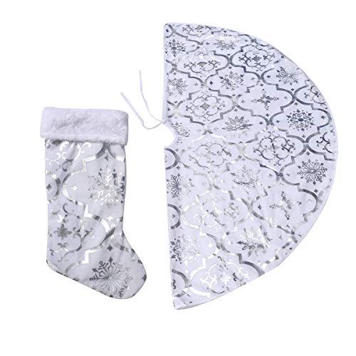 ABOOFAN 1 uppsättning av 120 cm julgran tyg träd förkläde julstrumpor kjol rund form julgran bas matta klä upp rekvisita för fest hem (silver)