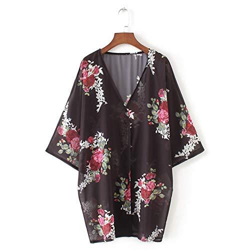 YYH Cardigan Chiffon Losjaal voor dames, chiffon, bloemenprint, kimono-verflakking, boho, zomer, casual blouse, strandbadkleding XX-Large zwart