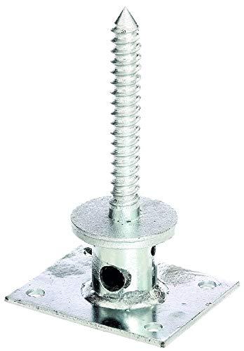 GAH-Alberts 208035 Pfostenträger für verdeckte Holzbefestigung | mit Betonanker aus Rundrohr oder zum Aufschrauben | feuerverzinkt | Länge Schraube 140 mm | Plattenbreite 100 mm | Plattenlänge 120 mm