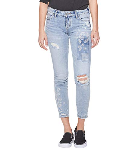 Silver Jeans Co. Damen Aiko Ankle Skinny with Paisley Embroidery Jeans, Helles Indigoblau, 24W x 27L