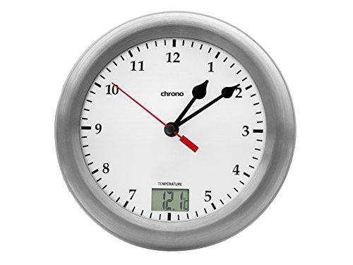 Meteo Reloj de Ba?o con Fechador, Termometro Chrono ZP17 para Pared, Escritorio o Espejo,Color Aluminio Cepillado