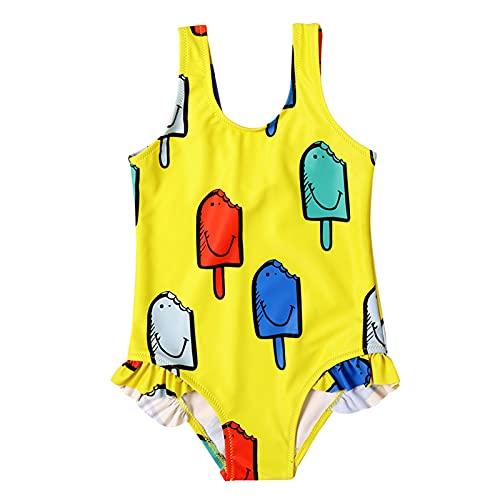 YWLINK BañAdor De Una Pieza Para NiñA Traje De BañO Casual Transpirable De ProteccióN Solar De Playa Bikini Regalo De Verano,Traje De BañO De Una Pieza Con Estampado De Helado Lindo Para NiñOs