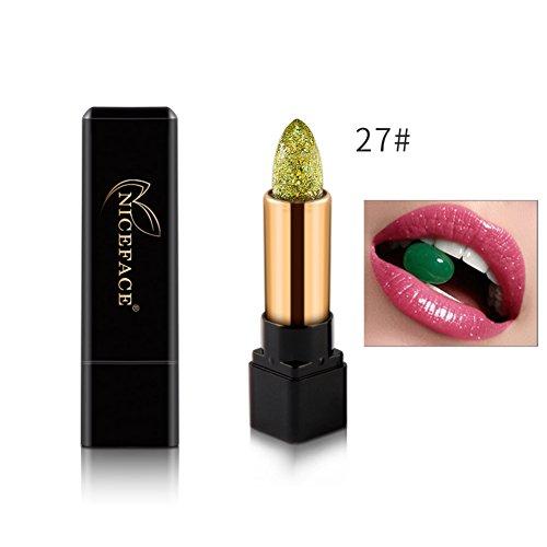Allbesta Farbwechsel Bio-Lippenbalsam Feuchtigkeits Lippenstift mit Glitzer Diamant