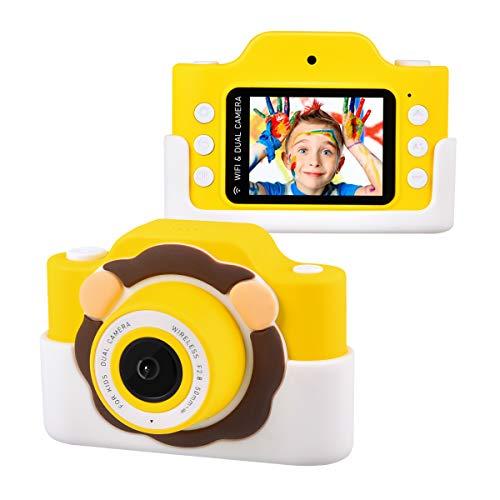 """Tyhbelle WiFi Kinderkamera mit Cartoon-Schutzhülle 24 Megapixel HD Digital Kamera 2.0\"""" IPS HD-Bildschirm mit 2 Objektive ideal für Jungen und Mädchen Geburtstagsgeschenk (Gelb-Löwenanzug)"""
