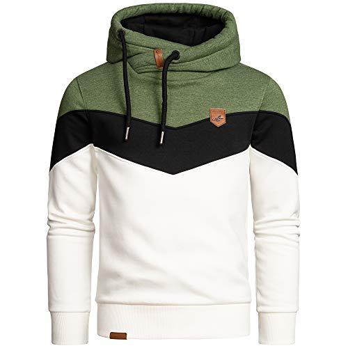Amaci&Sons Herren Basic Kapuzenpullover Sweatjacke Pullover Hoodie Sweatshirt 4052 Grün/Schwarz/Weiß L