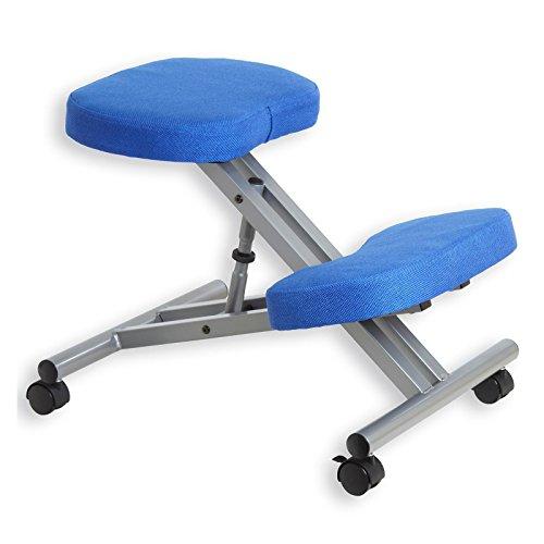 IDIMEX Kniestuhl Kniehocker Sitzhocker Bürohocker Gesundheitsstuhl Robert in blau/alufarben, höhenverstellbar, bequem gepolstert, rollbar