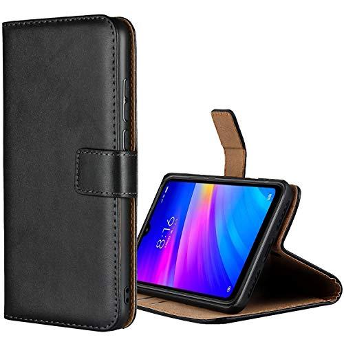 Aopan Xiaomi Redmi 7 Hülle, Flip Echt Ledertasche Handyhülle Brieftasche Schutzhülle für Xiaomi Redmi 7, Schwarz