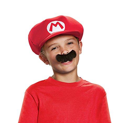 Super Mario Bros- Chapeau & Moustache Déguisement, DISKX73755, Taille Unique
