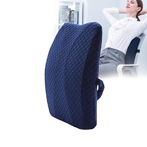 XYLUCKY Rückenkissen Büro, Lendenkissen, Memory Foam Rückenkissen für Bürostuhl & Sofa | Rückenstütze-Kissen für Büro & Zuhause,Blau