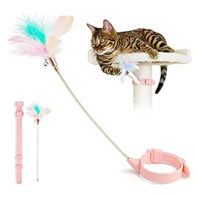 Aumuca Interactive Cat Feather Toys - Kitten Toys for Indoor Cats - TikTok Cat Toys with Collar - Cat Wand Toy Having Fun Exerciser Playing from Aumuca