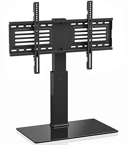 FITUEYES Universal TV Stand/Base Swivel Tabletop TV Stand with Mount for 42 to 75 inch Flat Screen TV 70 Degree Swivel, 9 Level Height Adjustable,Tempered Glass Base,Holds up to 110lbs Screens