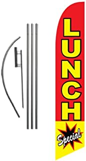 Lunch Special Restaurant Advertising Feather Banner Swooper Flag Sign with Flag Pole Kit and Ground Stake