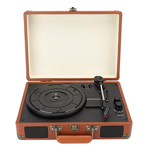 Klassieke vinyl platenspeler, PU lederen jukebox met drie snelheden, PU-jukebox met robijnnaald, Platenspeler voor vinyl platenspeler, PH/INT/BT 2.0 stereo(EU)