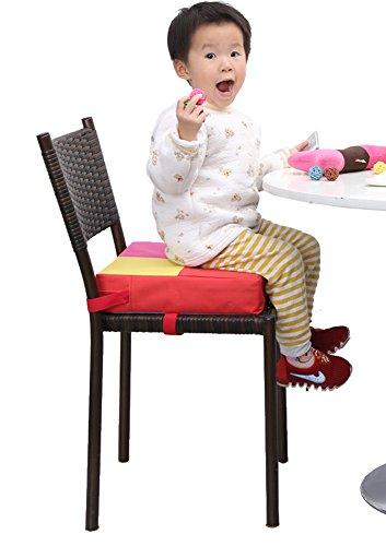 Zicac–Chaise haute portable Coussin Siège élévateur pour enfant chaise haute pour bébés enfants Idéal pour repas dans la maison ou Voyage rouge
