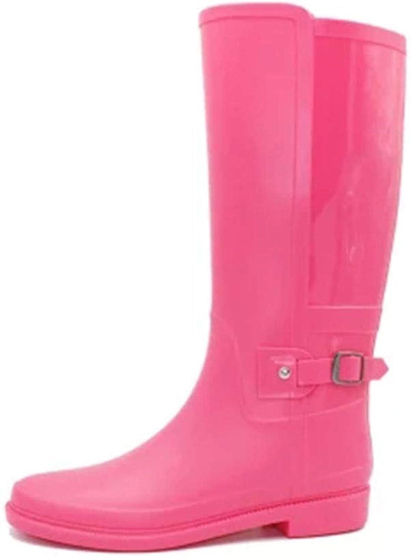 FXNN Rain Boots - Waterproof Soft Leather high rain Boots Buckle rain Boots