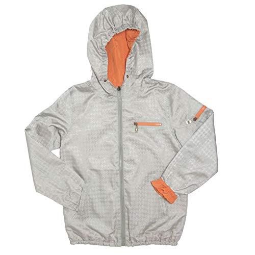 Frenchie Mini Couture 100% Polyester Nylon Boys & Girls Rain Jacket, Hooded Kids Raincoats, Silver/Orange, 18 Mos.