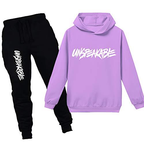 amropi Jungen Hoodie Trainingsanzug Sweatshirt Top und Jogging Hose Kleidungsset (Violett, 8-9 Jahre)