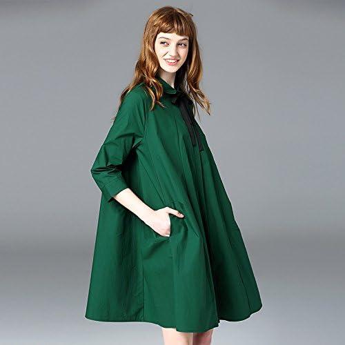 YFF Robe Chemise lache de Coton col Polo Solide Fermeture Bouton vers Le Bas Une Ligne,vert,S