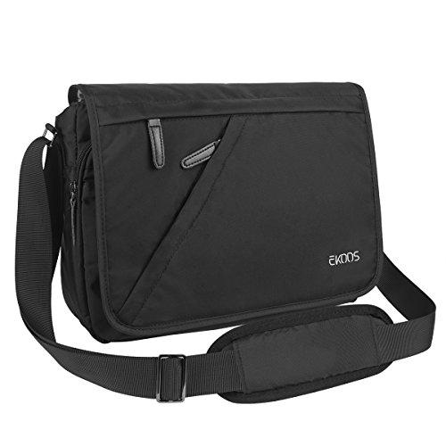 EKOOS Laptoptasche Messenger Bag Umhängetasche, Unisex Kuriertasche Aktentasche Schultertasche mit Laptopfache A4 Ordner für Arbeit, Uni, Sports (Schwarz, 15,6 Zoll)