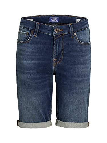 JACK & JONES Jungen Jjirick Jjicon Ge 006 I.k Jr Jeans Shorts, Blue Denim, 164 EU