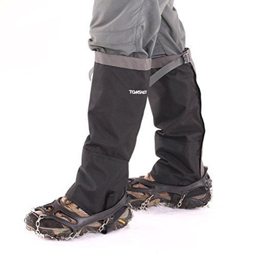 TOMSHOO Schuhspikes mit 19 Zähnen, Grödel, Spikes Satz und wasserdichte Gamaschen Gaiter für Schnee Ski Wandern Klettern