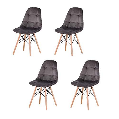 Un conjunto de 4 sillas de comedor de franela de estilo nórdico, sillas de diseño moderno con soportes de metal de madera de haya, adecuadas para cocina, restaurante y patio