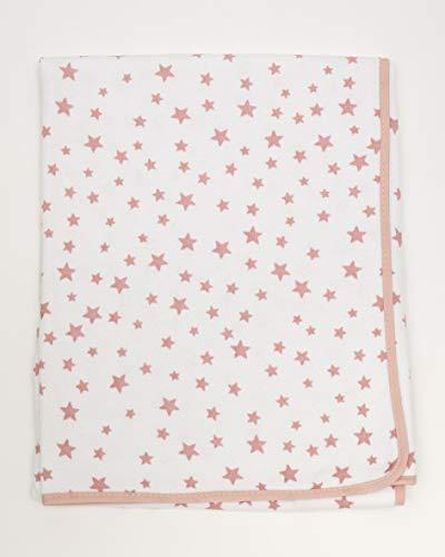 Ti TIN - Arrullo para Bebé de Doble Capa de Punto Suave y Absorbente 100% Algodón con Doble Tejido Interlock 2x180gr, Color Rosa, Estampado Estrellas