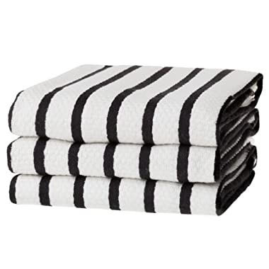 KAF Home Basket Weave Kitchen Towels, White with Black Stripes, Set of 3, 100% Cotton, Over-sized & Super Absorbent