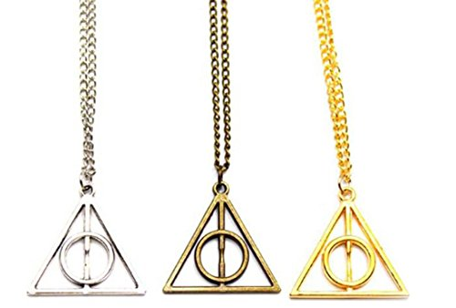 Harry potter Deathly Hallows Pendant Necklace Silver Coloured Chain Collection