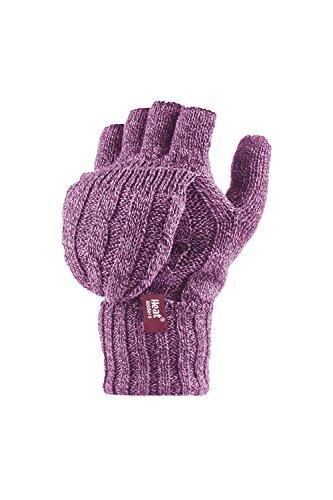 Heat Holders–fingerlose Damen-Thermohandschuhe. Zopfmuster, 2,3Tog, Einheitsgröße Gr. Einheitsgröße, rose