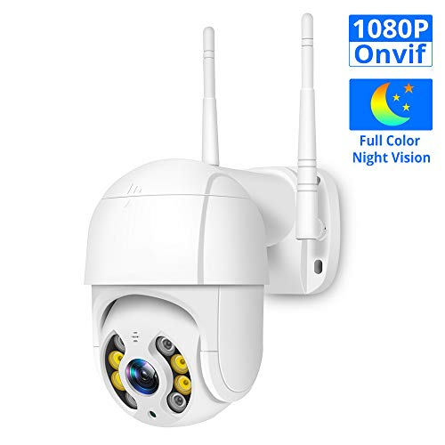 GIHI Telecamera di Sicurezza Esterna con La Funzione di Visione Notturna A Colori, 1080P PTZ Fotocamera Zoom Digitale, Telecamera IP di Sorveglianza, Rilevamento di Sicurezza Audio A Due Vie,Bianca