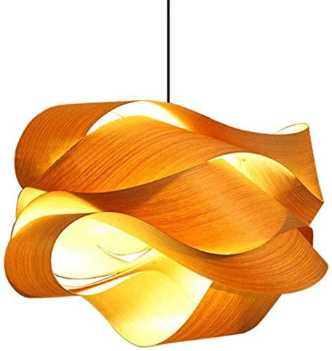 AWCVB Kronleuchter Einfache Holzfurnier Lampe Wellen-Kurven-Hängeleuchte Handgefertigte Relle Eiche Deckenleuchte E27 Für Wohnzimmer Schlafzimmer Flur