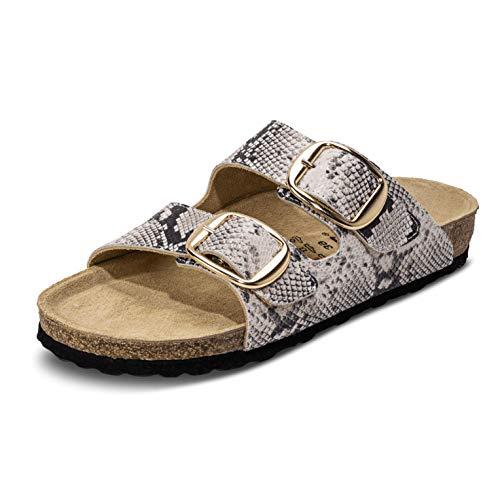 VITAFORM® Damen Pantolette Sandale Echt Leder Mit Naturkork – Bequemer Hausschuh Mit Luftpolsterfußbett (Weiß/Snake, Numeric_39)