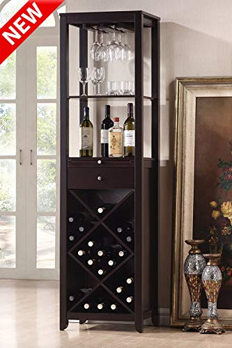 Jresboen Luxury & Stronger Wood Wine Cabinets for Wine Bottles, Freestanding Wine Rack Bar Cabinets for Liquor with 2 Open Storage Compartments,1 Drawer, 1Tray and X Shaped Bottle Rack (Dark Brown)