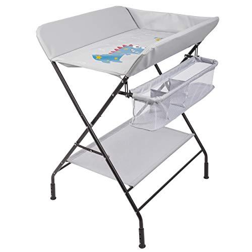 ONVAYA® Table à langer pliable | Commode à langer avec coussin | Peu encombrant et mobile | Combinaison à langer avec plateau et panier de rangement | Hauteur réglable | Charge maximale jusqu'à 15 kg