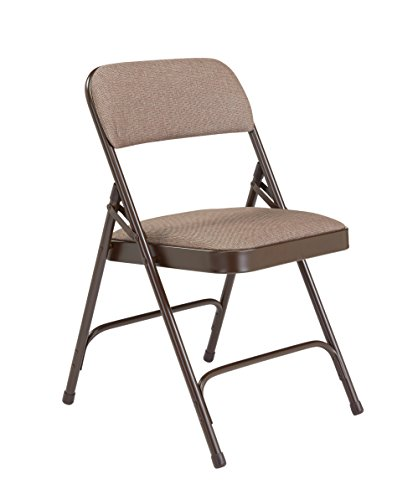 National Public Seating (4 Pack) NPS 2200 Series Deluxe Fabric Upholstered Double Hinge Premium Folding Chair, Russet Walnut