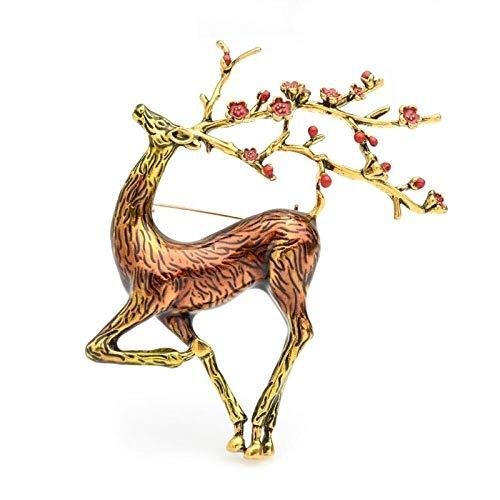 Collar de Moda para Mujer Broches Grandes Ciervos de Sika broches Hombres de Las Mujeres de la aleación Brown Esmalte Elk Animal Broche, Nombre de Color: Brown Izar (Color : Brown)