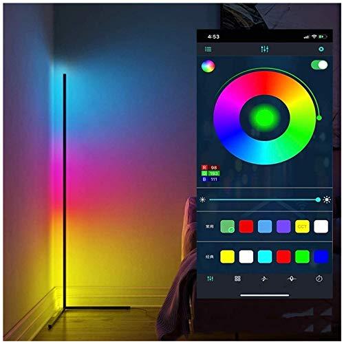 Lámpara De Pie De Esquina LED Minimalista Moderna, Bluetooth WiFi, Luz De Pie Regulable, Aplicación Y Control Táctil, Luz Que Cambia De Color RGB, Para Dormitorio, Sala De Estar, Oficina(Color:Blanco)