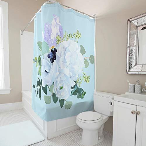 BTJC88 Cortina de ducha con diseño de flores, fácil de lavar, juego de cortinas con ganchos, para decoración de dormitorio, 200 x 200 cm, color blanco