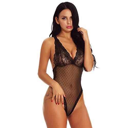 SamMoSon Tuta da Donna di Colore Solido con Pigiama in Pizzo Tentazione Sexy Intimo Nero M