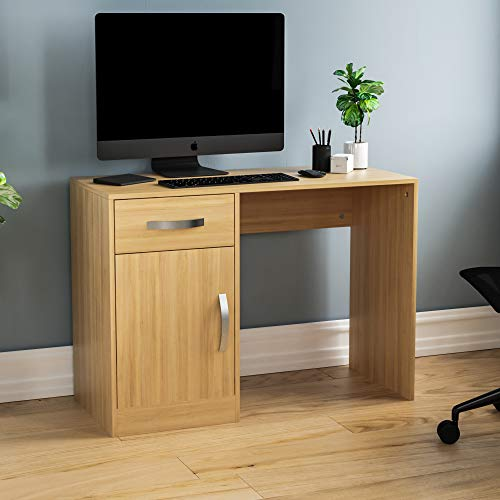 Vida Designs Hudson Computer Desk with Drawer and Door, Home Office PC/Laptop Table, Gaming Study Workstation Storage Cupboard Furniture, Pine
