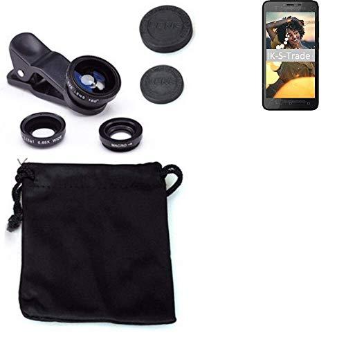 K-S-Trade® 3in1 para BQ Mobile BQ-5000G Velvet Easy Obiettivo Lente 180° Fisheye, Gran Angular 0.67x, Macro Amplicación len Negro