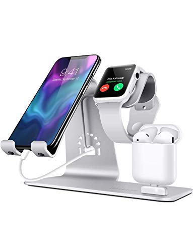 Bestand 3 in 1 Stand iWatch Apple, Dock per caricabatterie Airpods, Supporto tablet per desktop per Airpods, Apple Watch/iPhone X/8Plus/8/iPad, Argento