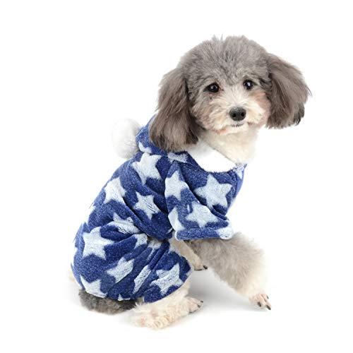 ZUNEA Pijama para Perro Pequeño Abrigo con Capucha Forro Polar Cachorros Niñas Niños Rope de Invierno Cálido Pijamas de Algodón Suave Ropa General para Mascotas Perros Gato Chihuahua Azul M