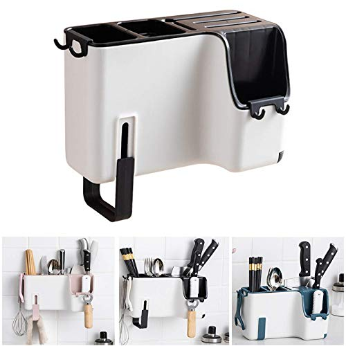 Kitchen Knife Holder and Utensil Holders for Countertop, Multifunctional Flatware & Silverware Cutlery Holder Caddy Organizer - Space Saver Modern Knife Block & Kitchen Utensils Organizer, Black