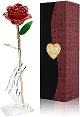 Rosa Oro 24 K Rosas Eterna Flores Artificiales Mejor Regalo con Soporte Transparente y Caja Regalo para Esposa Mom Novia En Navidad, San Valentín, Cumpleaños, Día de la Madr, el Día de San Valentín