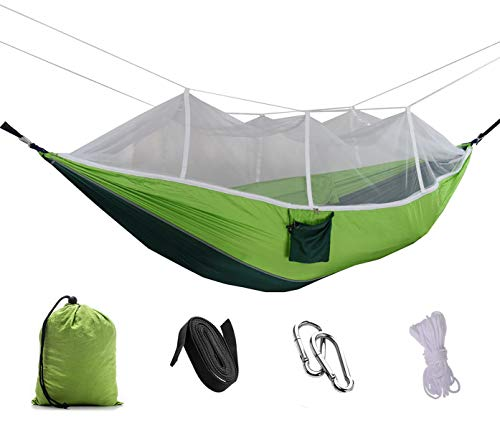 Kimi House Double Camp Hammock with Mosquito Net, Ultra Light Parachute Fabric Hammock for Camping, Backpacking, Hiking