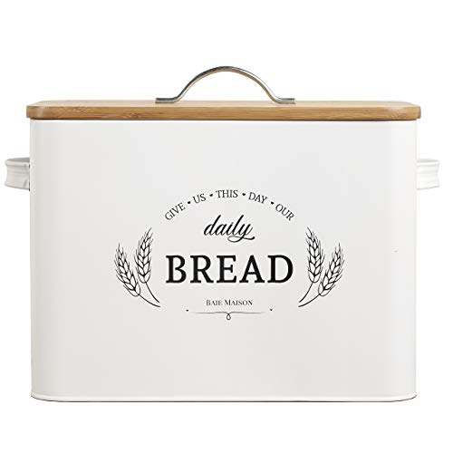 Extra Large White Farmhouse Bread Box for Kitchen Countertop - Breadbox Holder Fits 2+ Loaves - Bread Storage Container Bin - Rustic Bread Keeper Vintage Metal Kitchen Decor for Counter